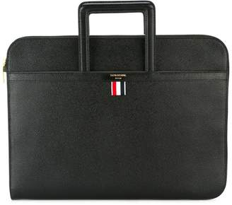Thom Browne Leather Handle Portfolio In Smooth Calf