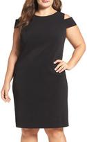 Vince Camuto Cold Shoulder Crepe Sheath Dress (Plus Size)