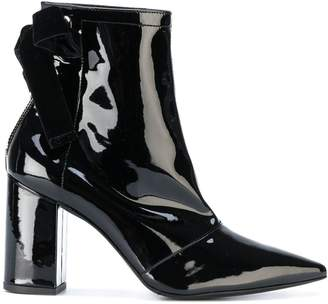 Clergerie x Self Portrait velvet bow ankle boots