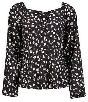 Dorothy Perkins Womens Black Ditsy Print Long Sleeve Top, Black