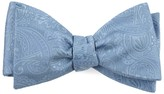 The Tie Bar Steel Blue Twill Paisley Bow Tie