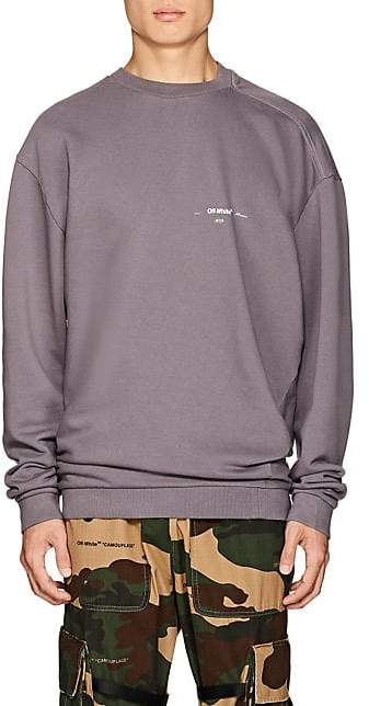Off-White Men's Logo Twisted Cotton Terry Sweatshirt - Gray