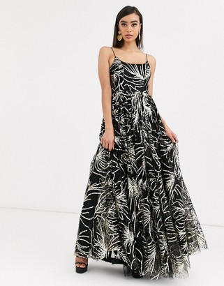 Bariano cami strap sequin gown in black and gold