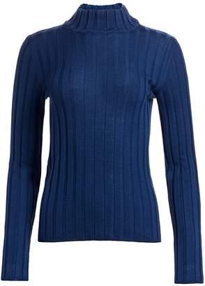Saks Fifth Avenue Wide Rib-Knit Mockneck Wool Sweater