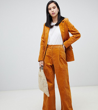 Monki co-ord wide leg cord trousers in mustard-Yellow