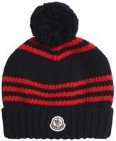 Moncler Wool Tricot Beanie Hat W/ Pompom