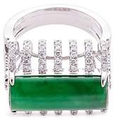 LC Collection Diamond jade 18k white gold cutout ring
