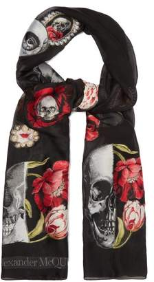 Alexander McQueen Rose And Skull Applique Chiffon Scarf - Womens - Black