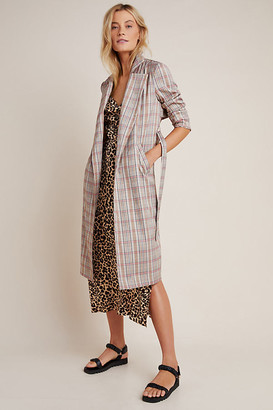Harlyn Marilyn Plaid Trench Coat By in Assorted Size XS