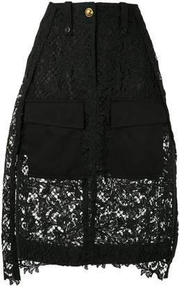 Sacai Lace Layered Midi Skirt