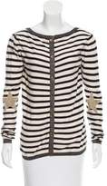 Maison Scotch Suede-Accented Striped Top
