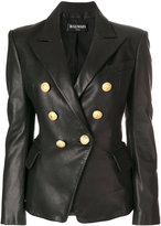 Balmain button-embellished blazer - women - Cotton/Lamb Skin/Viscose - 34