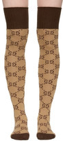 Gucci Beige and Brown Gg Supreme Stockings
