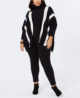 Alfani Plus Size Striped Poncho Sweater
