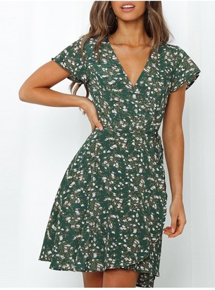 FS Collection Summer Mini Wrap Dress In Dark Green Print