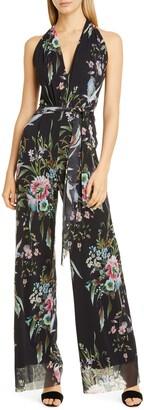 Fuzzi Floral Print Tulle Halter Jumpsuit