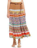 Multiples Pull-On Tiered Biadeer Print Maxi Skirt