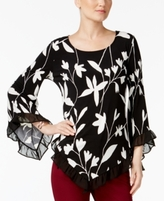 Alfani Petite Printed Asymmetrical-Hem Ruffled Top, Created for Macy's