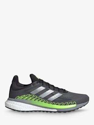 adidas Solar Glide ST 3 Men's Running Shoes, Grey Five/Silver Metallic/Signal Green