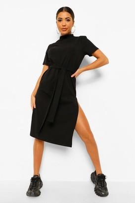 boohoo High Neck Belted Midi Dress