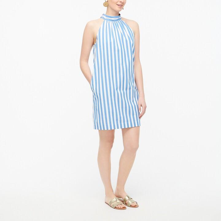 Thumbnail for your product : J.Crew Tie-neck cotton mini shift dress