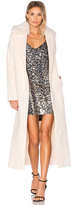 KENDALL + KYLIE Melton Column Coat with Faux Fur Collar