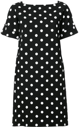 Oscar de la Renta Polka Dot Print Dress
