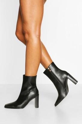 boohoo Square Toe Block Heel Shoe Boots