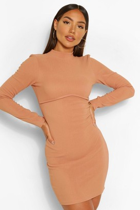 boohoo Bandage Rib High Neck Long Sleeve Mini Dress