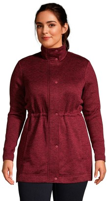 Lands' End Petite Plus Size Utility Sweater Fleece Coat