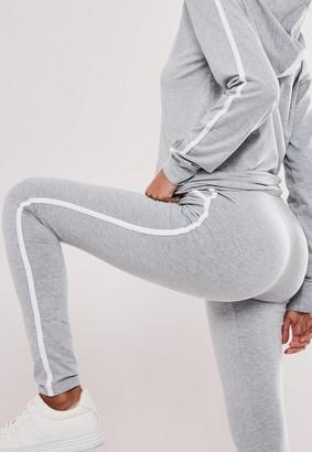 Missguided Tall Grey Co Ord Stripe Cuffed Leggings