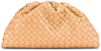 Bottega Veneta Woven The Pouch Clutch in Nude & Gold | FWRD