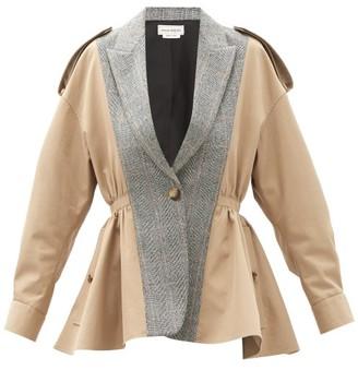 Alexander McQueen Peplum Cotton And Wool-blend Trench Jacket - Beige