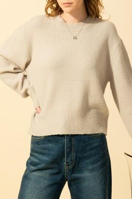 Double Zero Crew Neck Drop Shoulder Long Sleeve Sweater