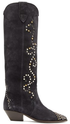 Isabel Marant Studded Suede Knee-high Boots - Womens - Black