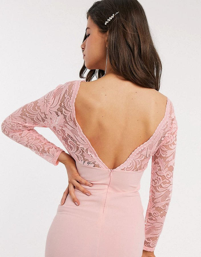 Thumbnail for your product : TFNC Bridesmaid lace detail maxi dress in light pink