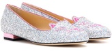 Charlotte Olympia Kitty Flat Glitter Slippers