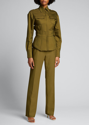Brandon Maxwell Wool-Silk Pleated Straight-Leg Trousers