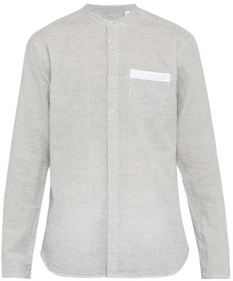 Oliver Spencer Serafina Checked Cotton And Linen-blend Shirt - Mens - Grey