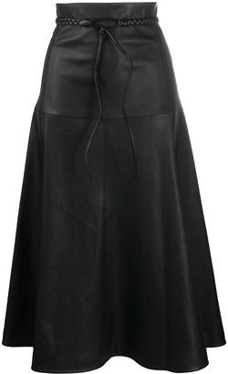 Valentino braided-belt A-line skirt