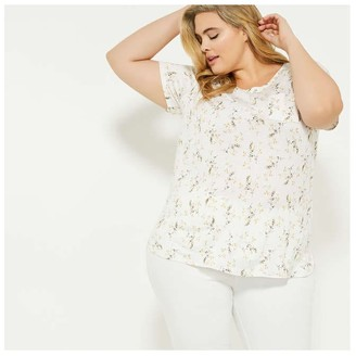 Joe Fresh Women+ Print Pocket Tee, White (Size 3X)