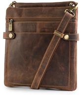 Visconti Tan Snap-Front Leather Crossbody Bag