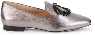 Karl Lagerfeld Paris Noor Embellished Metallic-Leather Loafers
