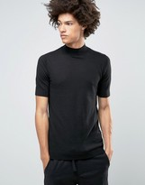 Asos Knitted Short Sleeve Turtleneck in Muscle Fit