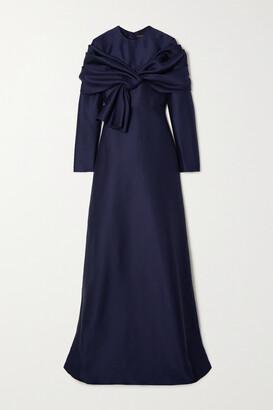 Reem Acra Draped Pique Gown - Blue