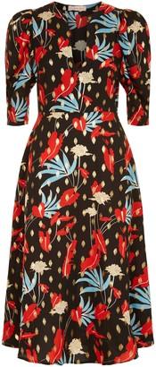Traffic People V-neck Floral Print Fever Dress In Black