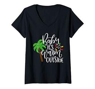 Womens Tropical Beach Christmas Vacation Baby It's Warm Outside V-Neck T-Shirt