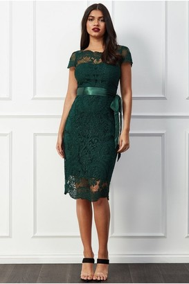 Goddiva Scallop Hem Lace Midi Dress - Emerald