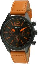 JCPenney TKO ORLOGI Mens Orange Leather Strap Multifunction-Look Watch