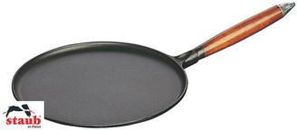 "Staub 11"" Crepe Pan w/Spreader & Spatula matte black/natural wood"